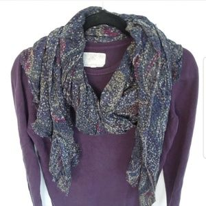 GAP Winter Scarf Bandanna Print Blue & Purple EUC